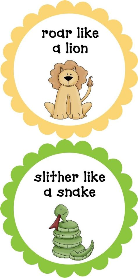 printable animal movement cards 177 best images about preschool movement on pinterest
