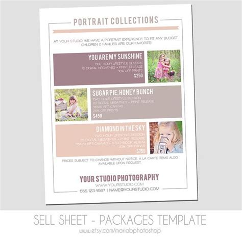 Sell Sheet Template by Sell Sheet Collections Or Packages Pricing Template