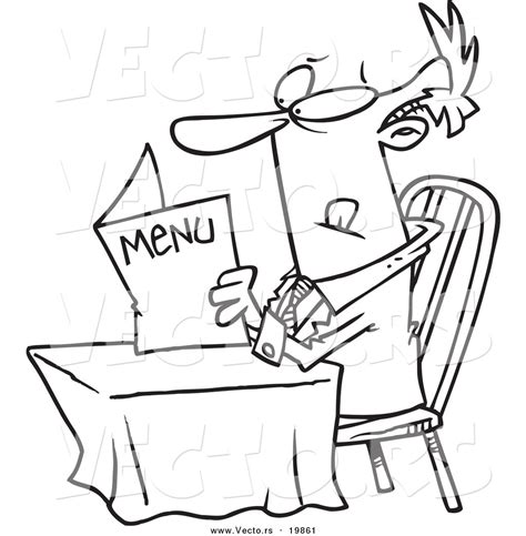 vector of a cartoon businessman reading a diner menu