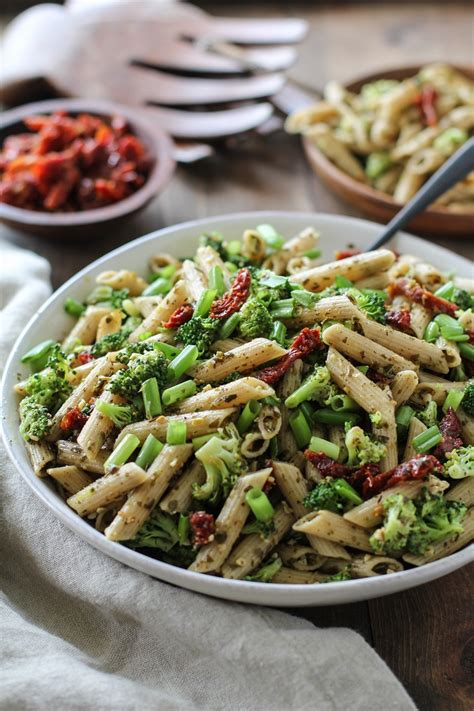 pasta salad pesto kale pesto pasta salad with sun dried tomatoes and