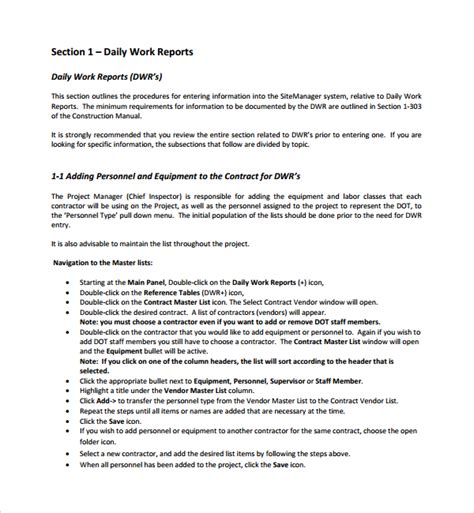 sle daily work report template 21 free documents in pdf