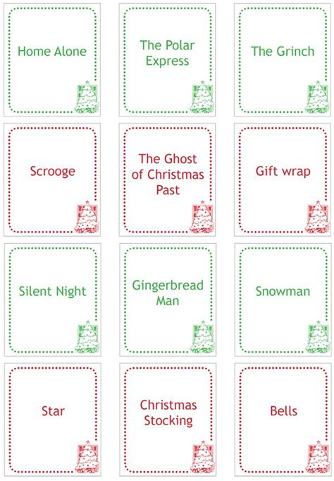 printable charades cards 4 best images of christmas charades free printable