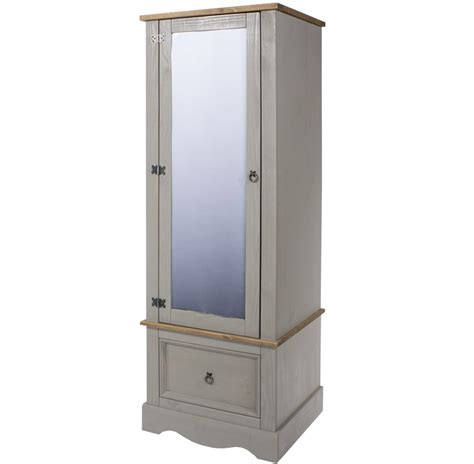 Single Mirrored Wardrobe by Abdabs Furniture Corona Grey Washed Single Wardrobe With