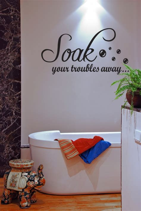 bathroom vinyl wall art soak your troubles away bathroom wall quote art vinyl