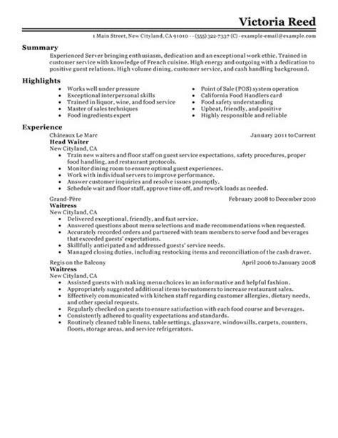 Resume Sle For Restaurant Captain 10 Restaurant Server Resume Writing Resume Sle Writing Resume Sle