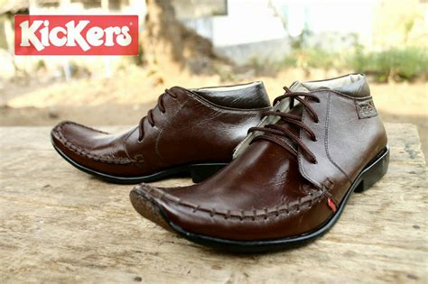 Kickers Mocasin Rajut Tali Coklat jual sepatu kickers pantofel tali coklat kulit premium