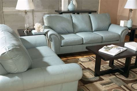 Joyce Contemporary Blue Genuine Leather Sofa Couch Set Genuine Leather Living Room Sets