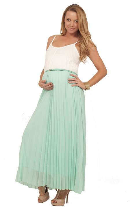 Comfortable Dresses by Maternity Pregnacy Maxi Length Pleated Belted Summer