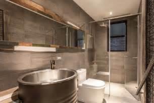 Bathroom interior design based on industrial and vintage style