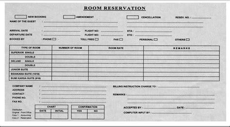 Contoh Reservation Letter Di Hotel Formulir Formulir Reservasi Akomodasi Perhotelan