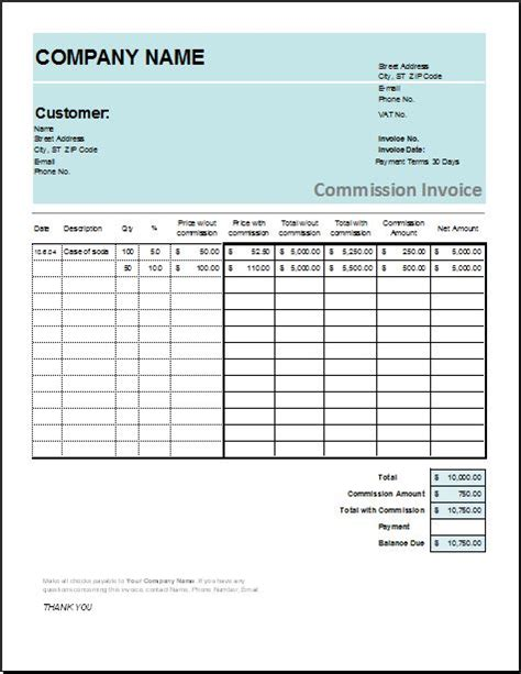 account transfer commission invoice templates word