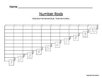 printable montessori rods montessori number rods worksheet by montessori mac tpt