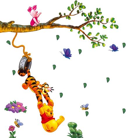winnie the pooh wall decals for nursery winnie the pooh swing on branches wall decal for baby nursery