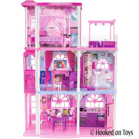 barbie doll house dream house barbie 3 story dream town house 55 pieces w furniture lights mattel n7666 ebay