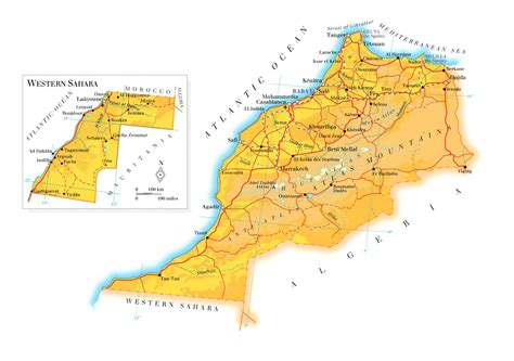 physical map of morocco physical and road map of morocco morocco physical and