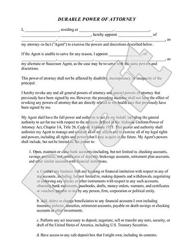 Durable Power Of Attorney Form Template With Sle Power Of Attorney Template Nj