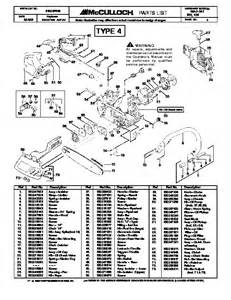mcculloch mac cat 335 435 chainsaw service parts list