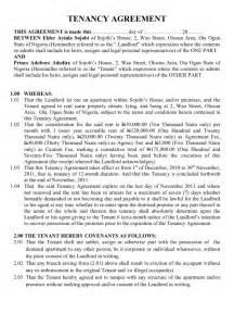 Tenancy agreement leasehold estate landlord