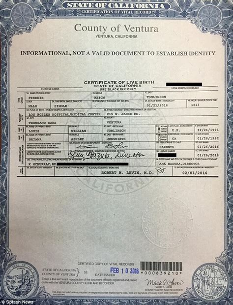Syrian Birth Records Louis Tomlinson S Freddie S Birth Certificate
