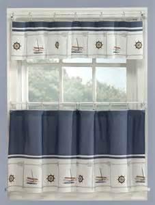 Coastal Kitchen Curtains Blue Nautical Curtains Valance Tiers Set Cape Cod Coastal Decor