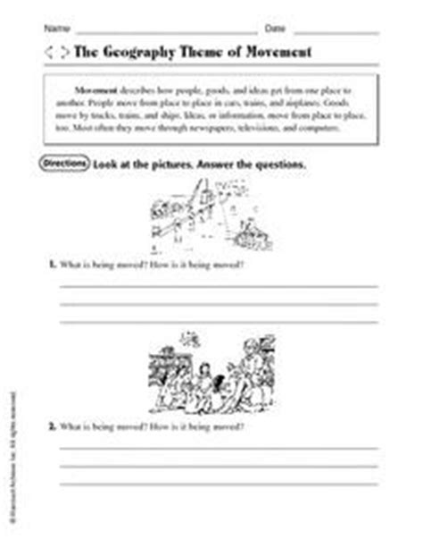 5 themes of geography worksheet 3rd grade the geography theme of movement 3rd 4th grade worksheet
