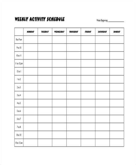 weekly workout calendar template blank workout schedule templates 6 free word pdf