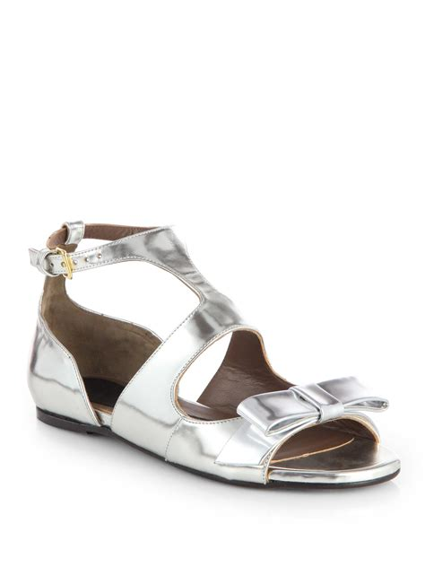 bow sandals marni metallic leather bow sandals in silver lyst