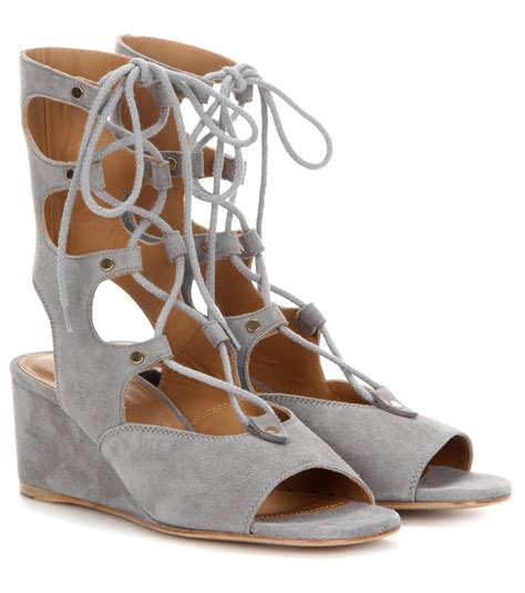 grey gladiator sandals chlo 233 foster suede gladiator wedge sandals in gray lyst