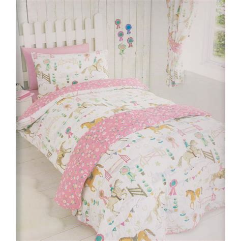 girls full bedding kids club girls horse show quilt cover bedding set twin