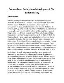 Personal Development Essay personal and professional development plan sle essay