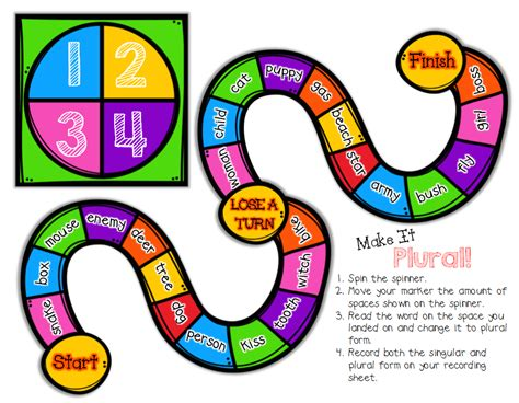 free printable noun board games classroom freebies quot make it plural quot a board game for