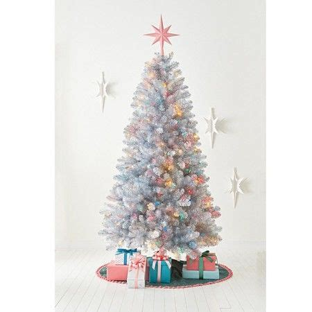 ft pre lit artificial christmas tree silver tinsel
