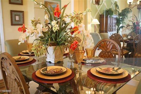 dining room table floral arrangements dining room table and chairs with floral arrangement stock