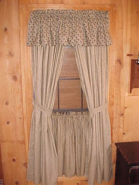 Primitive Country Curtains Bj S Country Charm Primitive Blue Ticking Tea Stained Swag Curtains