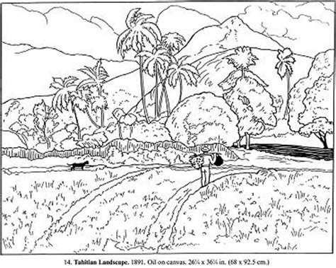 advanced landscape coloring pages all that s goood gauguin artist study