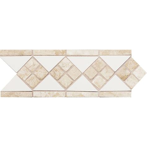 daltile fashion accents white travertine 4 in x 12 in ceramic listello wall tile