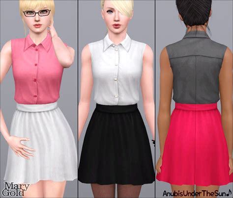Cc Set Channel Overall anubis sims stuff gold office dress