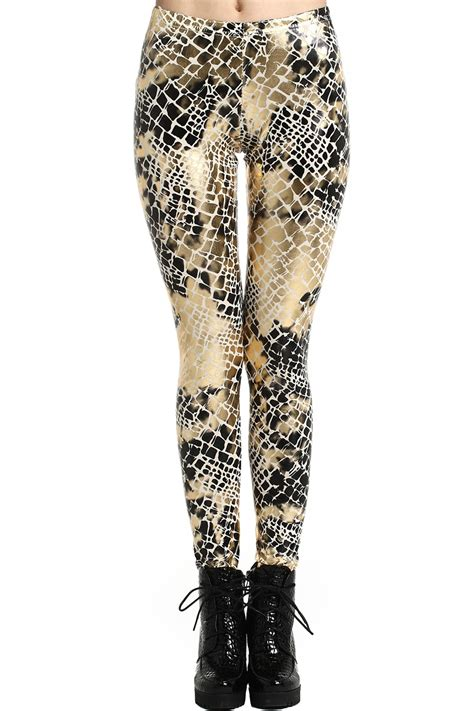 Code Snake Gold Legging romwe romwe snake print gold tone the fashion