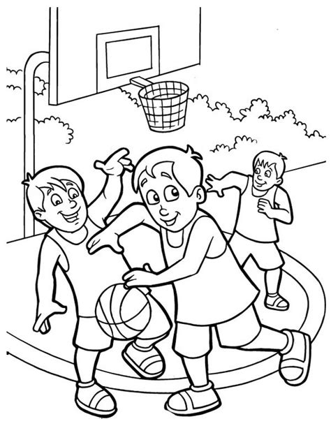 coloring page of boy playing basketball kids playing free coloring pages on art coloring pages