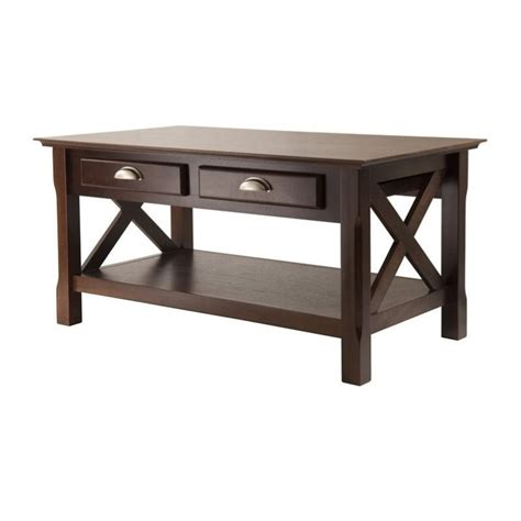 Two Coffee Tables Living Room Coffee Table With 2 Drawers In Cappuccino Finish 40538