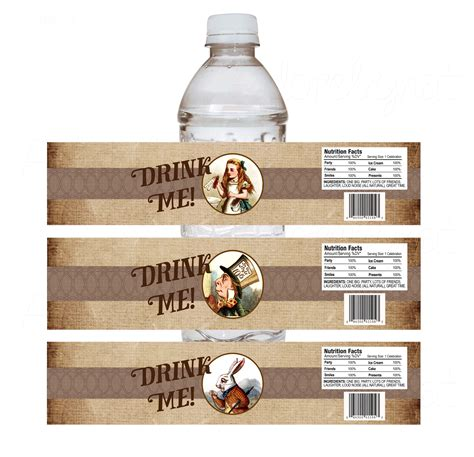 drink bottle label template drink me in water bottle labels adore by nat