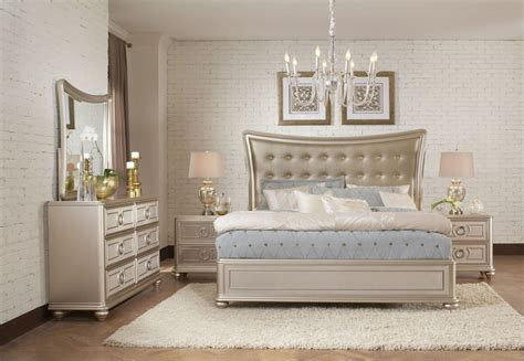 dynasty gold metallic upholstered platform bedroom set