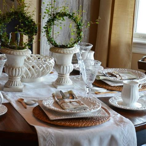 Elegant Table Decoration with White Tableware, Rattan