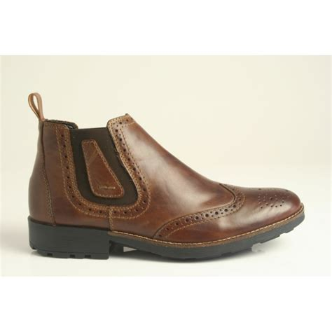 Rugged Sole by Rieker Rieker S Brogue Chelsea Boot With Two Elastic