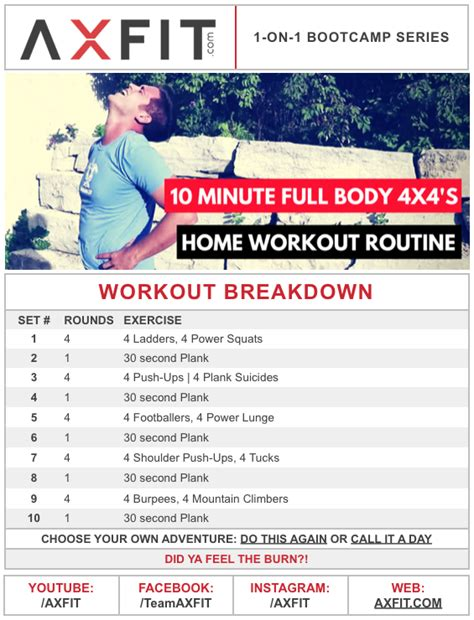 home workout routine 10 minute 4x4 s axfit