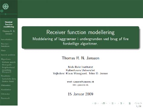 My Master Thesis Receiver Function Modeling Tjansson Dk Thesis Defense Powerpoint Template