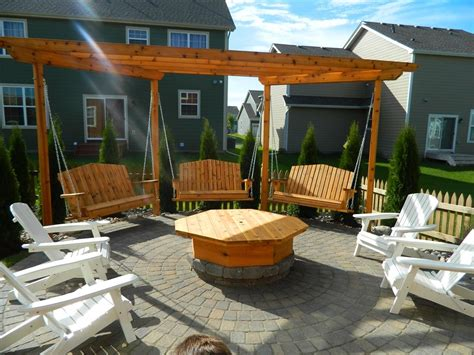 can i have a fire pit in my backyard apple valley fire pit with pergola swings devine design hardscapes