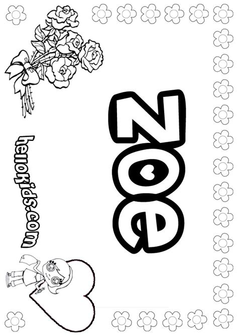 girls name coloring pages zoe girly name to color