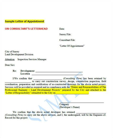 appointment letter format for tax consultant 51 sle appointment letters