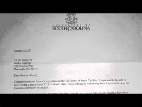 Acceptance Letters For Of South Carolina Essay 3 Acceptance Into The Of South Carolina